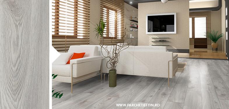 Parchet laminat Kronotex Stejar Macro Alb – 12mm